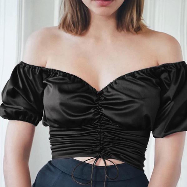 Slik Vintage Blusa De Cetim Das Mulheres de Manga Curta Tops Das Mulheres e Blusas Com Decote Em V Blusas Verão Verão Bandage blusas mujer de moda 2019