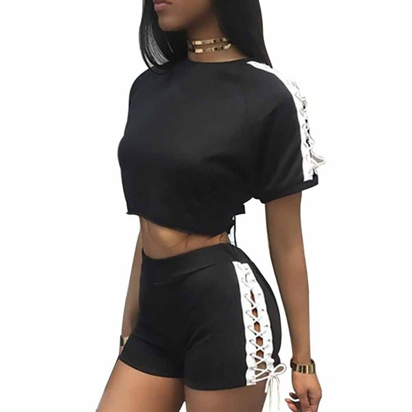 Sexy Summer Short T-shirt+Pants Casual Fashion Suit Side Lace-up Joint Tops Shorts Dancing Wear Women Suit