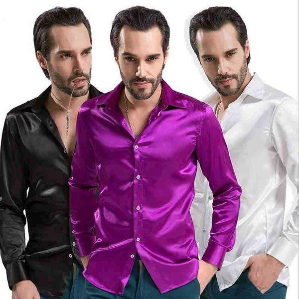Nouveau 2019 loisirs marque vêtements haute qualité émulation soie chemises à manches longues chemise décontractée pour hommes brillant satin camisa blanc noir # 388774