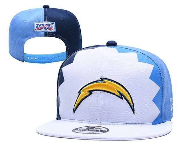 Chargers New 2019 Draft On-Stage Official 9FIFTY Adjustable Snapback Hat White Light Blue Draft Spotlight Fitted Hat Gold gray Ball Caps 03