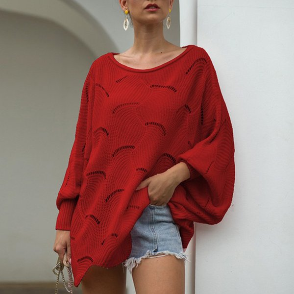 sweater women autumn winter loose solid color pullover hollow out commuter jumper pull femme batwing sleeve new style sweaters