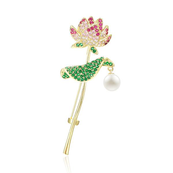 XIUMEIYIZU Neuheiten Mode Lotus Blume Form Vergoldung Broschen für Frauen Hochzeit Pullover Sicherheitsnadel Schmuck
