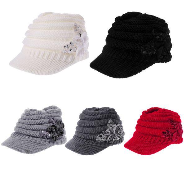 Women Ladies Knitted Hat Winter Crochet Peaked Beanie Cap Hat Knitted Skull Cap Grey Girls Skullies Bonnet Femme SnapBack