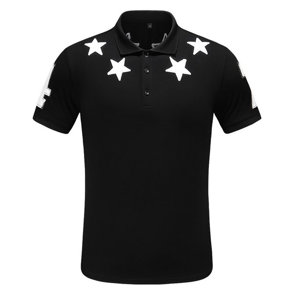 new Men's lapel T-shirt chest novelty leather star decals fashion sense full body upper body age