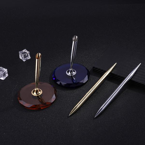 Ballpoint Pen Calligraphy Gift Crystal Base Pen Writing Ink Set Gift Box Wedding Decoration New Gold Silver Dawegama 1Set