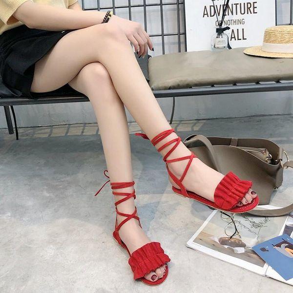 COOTELILI Fashion Women Gladiator Sandals Flat Summer Shoes Women Flats Female Shoes Woman Ankle Strap Sandlen Tassel 41 42 43
