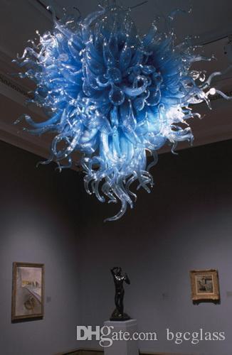 Подгонянная стеклянная люстра освещение 100% ручной работы выдувного синее стекло подвеска лампа для гостиной Декор современный художественного стекла вися света Сид