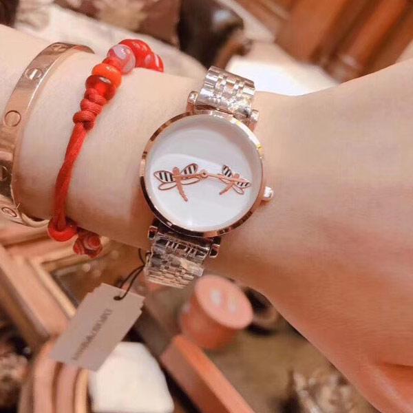 Orologi da donna di lusso libellula quadrante in oro rosa da donna Designer orologi da polso Orologio al quarzo di marca per le donne Regalo di San Valentino montre de luxe