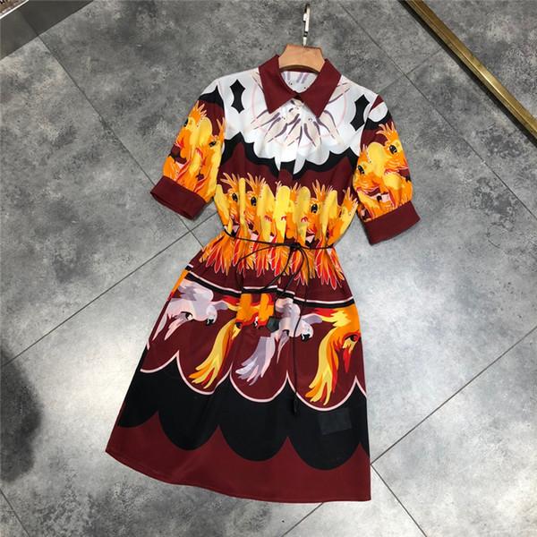 Truevoker verão designer de vestidos de seda das mulheres de manga curta peter pan collar animal print casual straigth vestidos