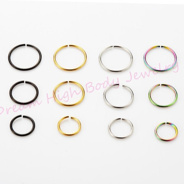 wholesale Jewelry Hoop Nose Fake Ear Earring Rings 22G 8mm Body Piercing Jewelry Neon 200pcs/lot Mixed Color Steel bendable