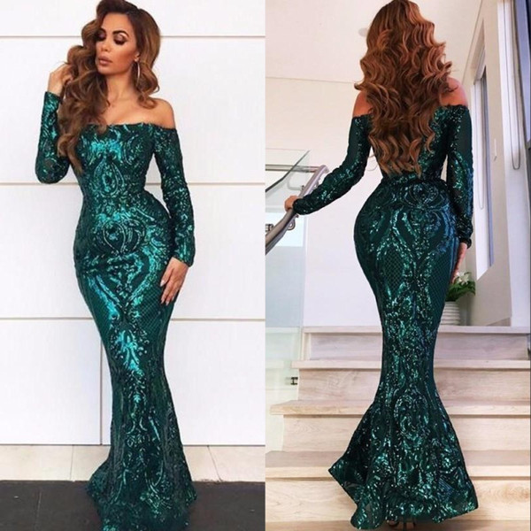 Arabic Style Emerald Green Sequined Lace Mermaid Prom Dresses 2019 Sexy Off Shoulders Elegant Long Evening Gowns Pageant Wears