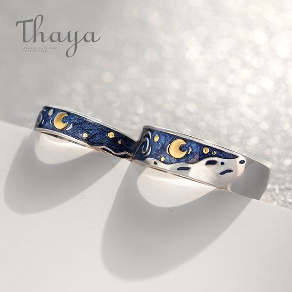 Thaya Van Gogh's Enamel Couple Rings Sky Star Moon S925 Silver Glitter Rings Engagement Ring Wedding Jewelry For Women J190620