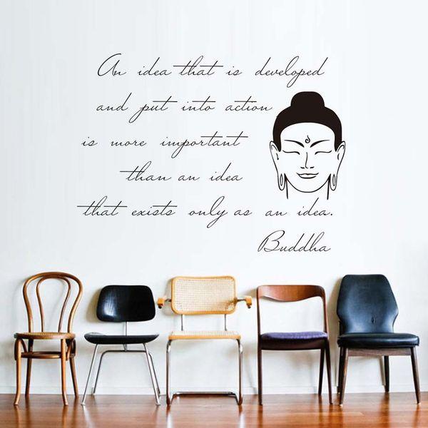 1 Pcs High Quality Walll Art Inspiring Sentence Buddha Wall Sticker Living Room Removable Vinyl Quotes Arts Decals Home Decor