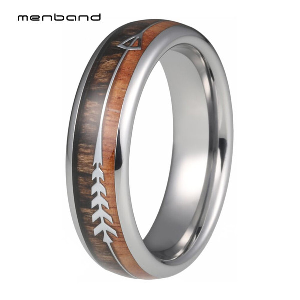 6mm Silver Tungsten Wedding Bands for Men Women Wood Arrow Inlay Engagement Rings