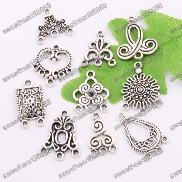80pcs/lot Charms Pendants Earrings Connectors 10styles Tibetan Silver Connector For Jewelry Craft DIY LM1 Jewelry Findings & Components