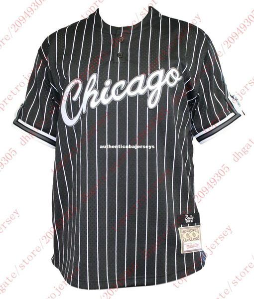 Ucuz Custom herhangi bir ad Mitchell Ness Erkek Siyah Pinstriped Beyzbol Jersey Gömlek Erkek istenilen sayıda Yaz Tee basketbol jerse dikişli