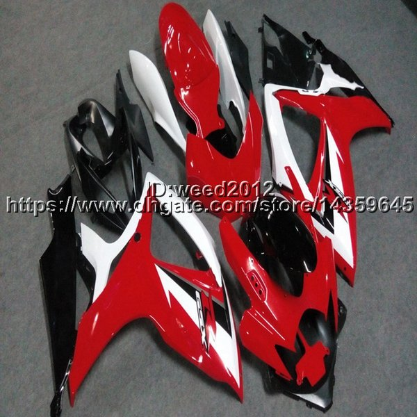 Custom+Screws Red White Motorcycle Fairings For SUZUKI GSX R600750 2006  2007 GSXR600 750 K6 Motor Panels Fiberglass Motorcycle Fairings Fiberglass