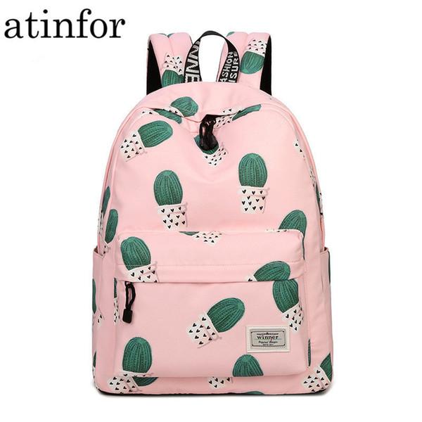 Waterproof Fairy Ball Plant Printing Backpack Women Cactus Bookbag Cute School Bag For Teenage Girls Kawaii Pink Knapsack Y19052202