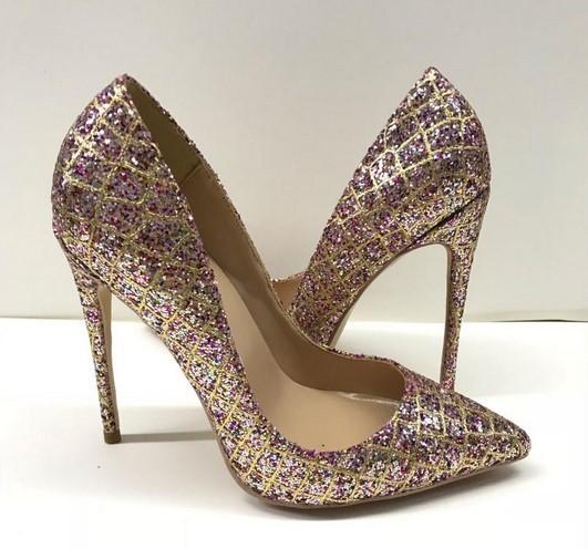 Pembe payetli ince topuklu sivri topuklu ayakkabılar ve sığ ağız moda bayan ayakkabı pembe ince topuklu düğün ziyafet yüksek