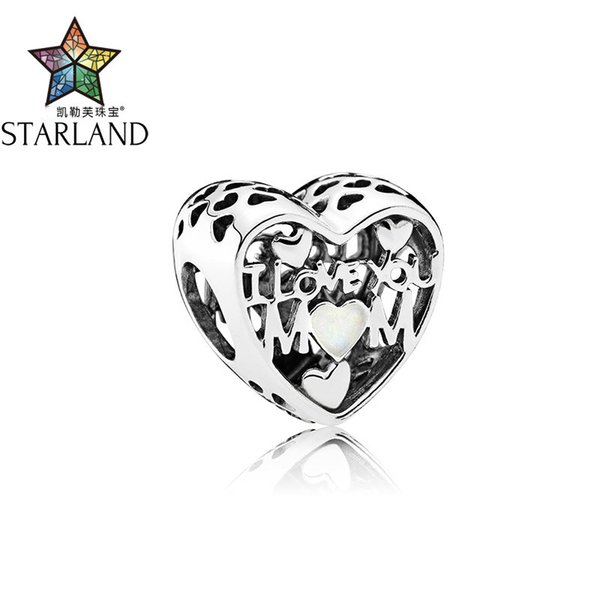 Starland Fine Detail Gioielli in argento sterling 925 I Love You MADRE Charm Beads Fit Bracciale originale Donna Accessori fai da te Regali