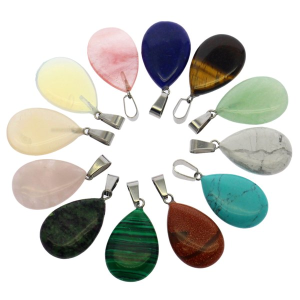 12 mix-color semi-precious stone pendant set with natural gemstone agate crystal pendant