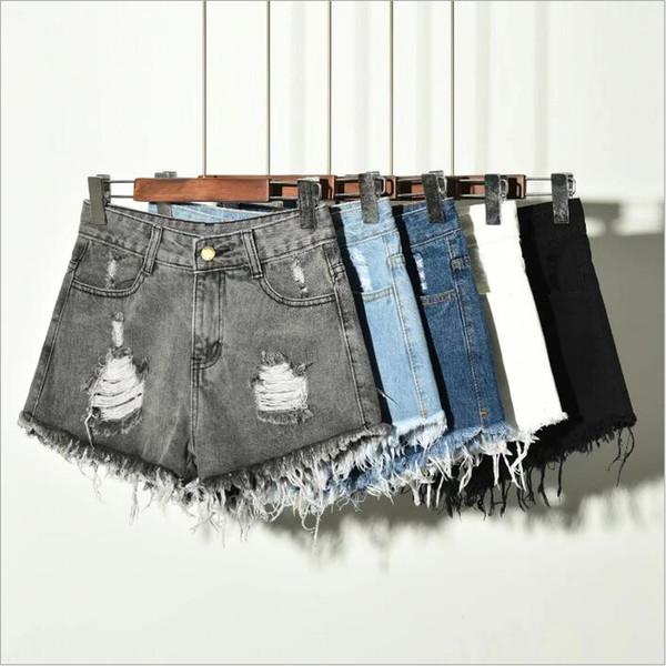 Kot Şort Kadın Denim Püskül Sıcak Pantolon Yüksek Bel Günlük Pantolon Sıska Retro Moda Pantolon İnce Yaz Seksi Kesim Şort C4555 Ripped