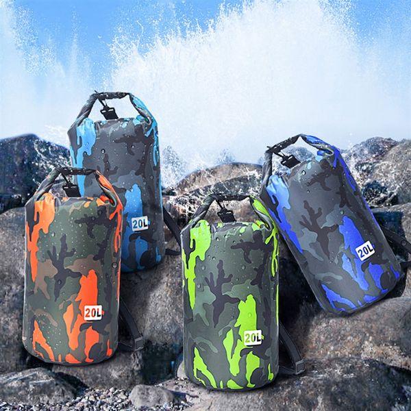 73f0146e4 20L Plegable Mochila deportiva al aire libre Natación Bolsa impermeable  Almacenamiento de camping Bolsa de saco