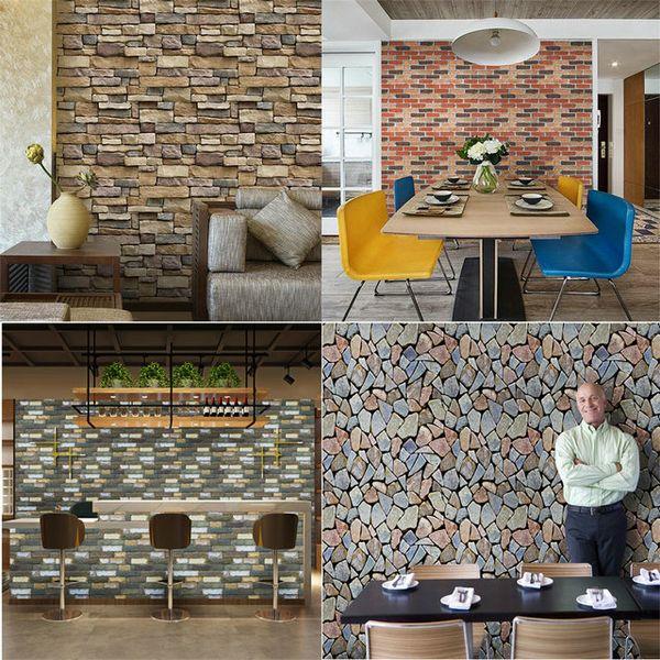 Vendita al dettaglio 7 stili Bambini 3D simulazione Adesivi murali in mattoni di roccia Adesivo soggiorno camera da letto sfondo carta da parati verde decorativo per la casa