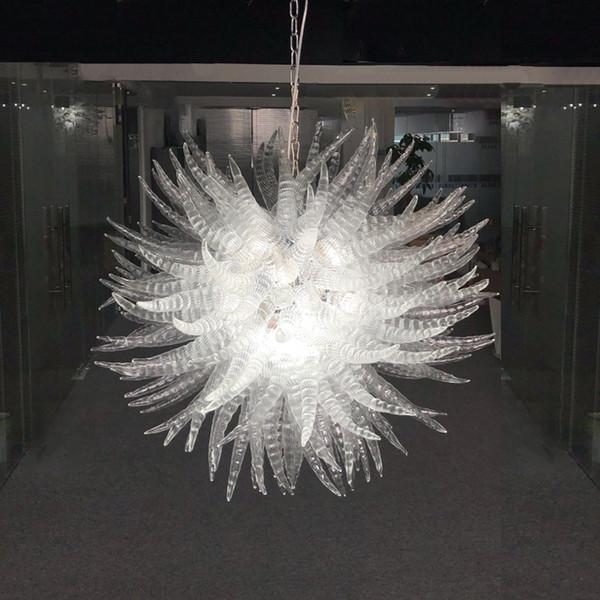 Murano Effacer Soufflé À La Main En Laiton De Verre Lustre Éclairage Forme Ronde Porche Lumière Creative Hallway Lampe Cristal