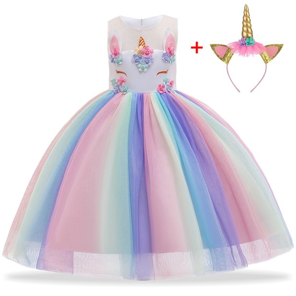 Toddler Girls Unicorn Dresses 34 Design Sleeveless Embroidered Unicorn Princess Dresses Wedding Dress Summer Performance TUTU Skirt