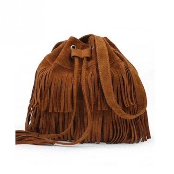 JIULINRetro Faux Suede Fringe lady Bag Messenger bag New Handbag Tassel Shoulder Handbag Crossbody Gift