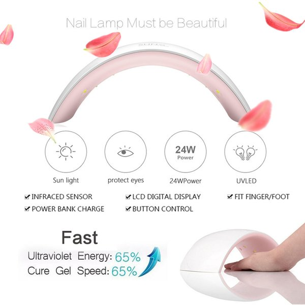 SUN9s 24W UV LED Lamp Light Nail Dryer with USB Charging Cable Pro Manicure Light For Finger and Toenails Curing Nail Gel Travel Home Salon