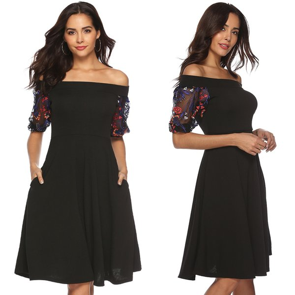 Women Vintage Lace Sleeve A-Line Party Dress Midi Skater Dress New Pin Up Floral Lace Dresses Short Sleeve Party Casual