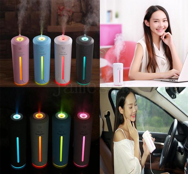 Caliente 4 estilo humidificador de aire ultrasónico difusores de aceite esencial 7 luces de color USB atomizador difusor de aromaterapia para coche dc691