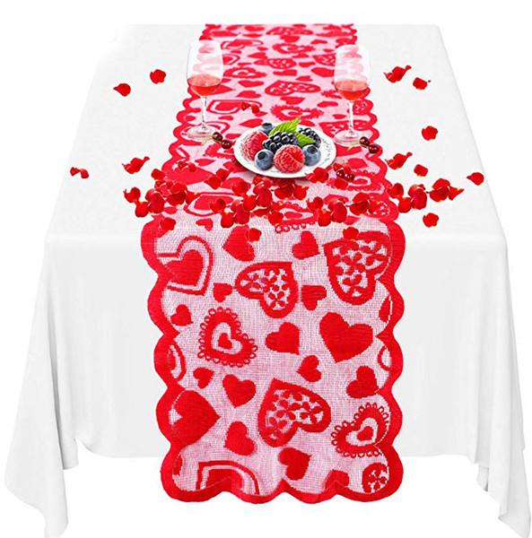 2020 Valentinstag-Dekorationen Tischläufer 13 x 72 Zoll Romantischen Spitze-Herz-Mitteltischdecke Hochzeit Dekor Supplies B24F