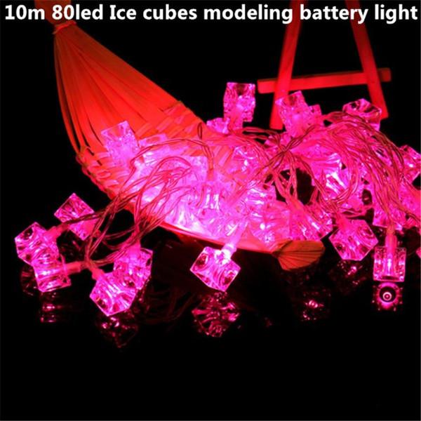 10 m 80led cubos de gelo 3AA bateria led corda luz operado feriado decoração da lâmpada festival de natal ao ar livre iluminação à prova d 'água