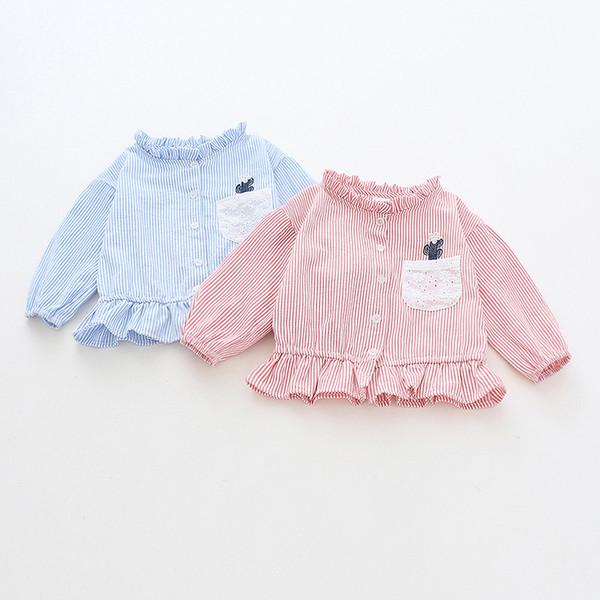 bc6bc86186 Camisa Da Menina Do Bebê da criança Primavera Outono Algodão de Manga Longa  Listrado Flor Tops