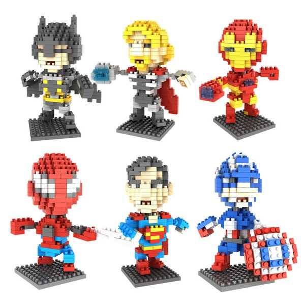super heroes figures Batman Captain America Spiderman Particle Building Blocks Mini Bricks Assembly Model 6 styles Educational Toys for kids