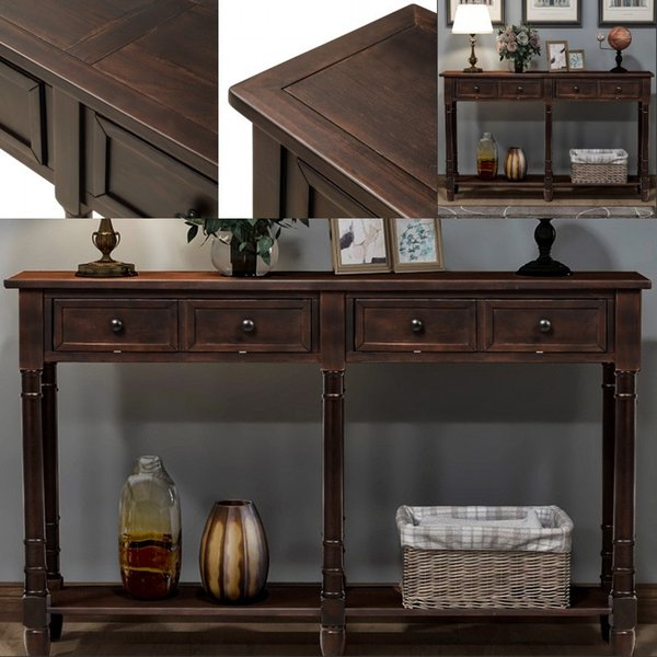 2019 Console Table Sofa Table Easy Assembly With Two Storage Drawers Bottom Shelf For Living Room Entryway Espresso From Greatfurnishing 20101