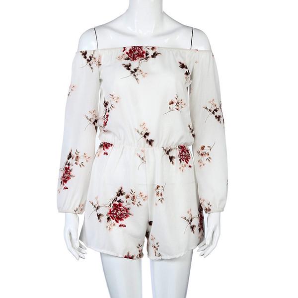 Jaycosin palavra sexy gola off-ombro impresso macacão floral elegante verão one-shoulder backless jumpsuit casual