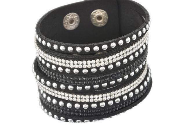 10pcs/lot hot sale new item Black nine rows of rhinestone studded Korean velvet multi-layer bracelet fashion retro style series bracelet