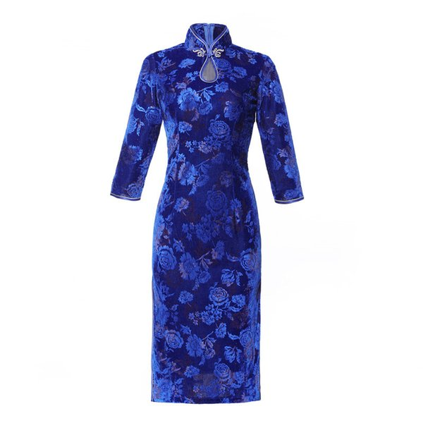 Qipao Long Cheongsams Dress Chinese Women Cotton Velvet Traditional Vintage Retro Floral Printed Autumn Winter Cheongsam Robe