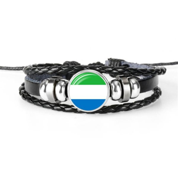Vintage Sierra Leone National Flag World Cup Football Fan Time Gem Glass Cabochon Bracelet for Women Men Leather Rope Bead Jewelry Wholesale
