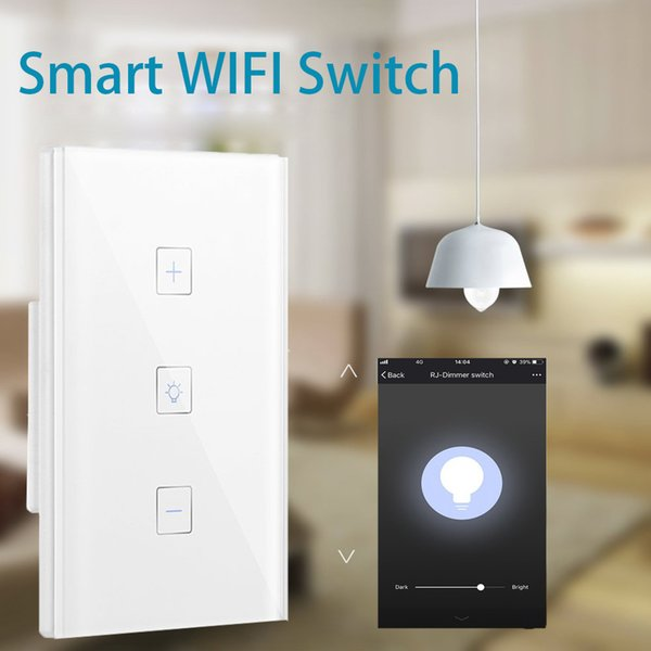 US UK EU Smart Home Dimmer Switch Touch Wireless 1 Gang Switch Work with Alexa / Google Home / IFTTT APP Remote Control