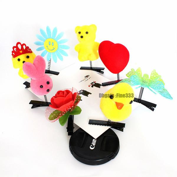 Kids 3D Animal Hair Kids Barrettes Plush Hair Clips Women Duck Animals Rubber Headband Hair Accessories