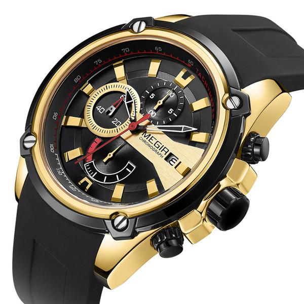 Orologio al quarzo di sport degli uomini MEGIR orologi calendario impermeabile della cinghia del silicone 2086G