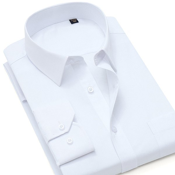 The current popular new men's shirt classic fashion solid color square collar long-sleeved business casual shirt wedding best man shirt