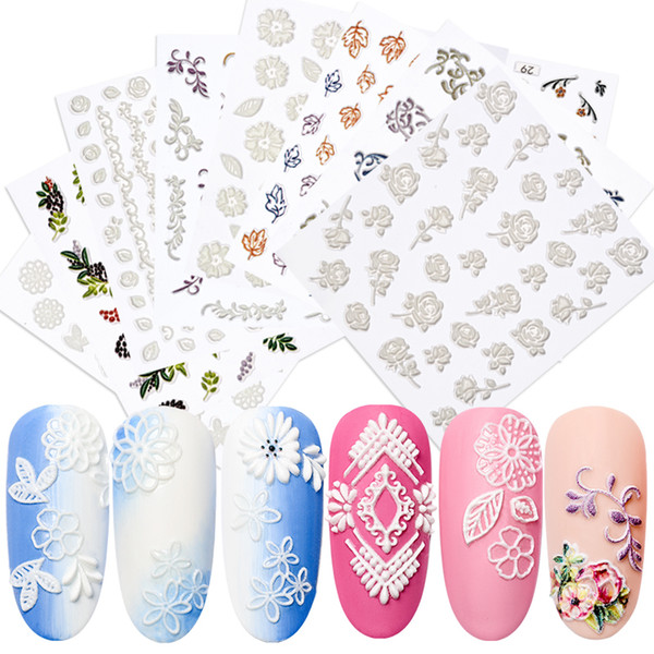 1 Sheet 3D Embossed Nail Sticker Flower Leaf Pattern Emboss Stickers Decals DIY Manicure Slider Nail Art Tips Decorations Decals