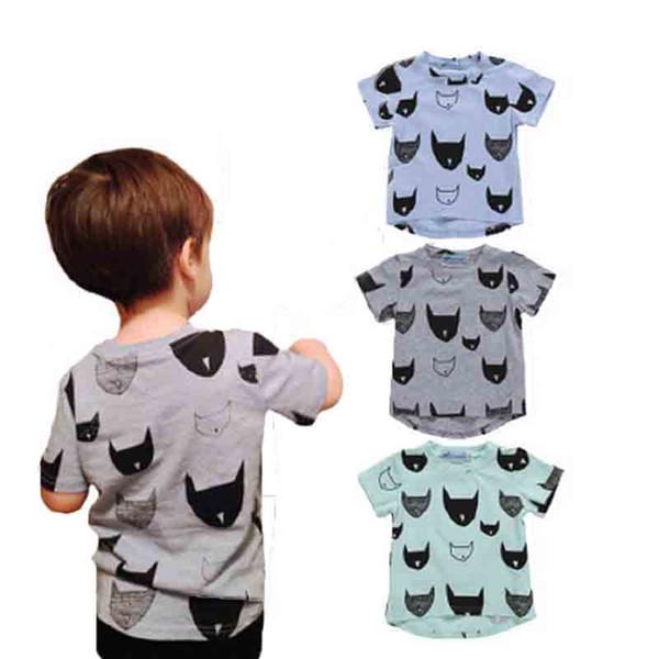T-shirt do menino de Manga Curta Crianças Roupas de Grife Meninos Dos Desenhos Animados Animal Morcego Impressão Em Torno Do Pescoço Casaco T-Shirt 49