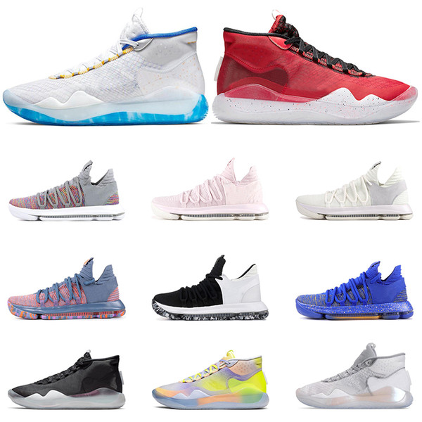 Nike KD 10 12 Erkekler basketbol ayakkabıları EYBL ÜNİVERSİTESİ KIRMIZI Kurt Gri 90S ÇOCUK ÇOK RENKLİ eğitmenleri Spor Sneaker Boyut 7-12